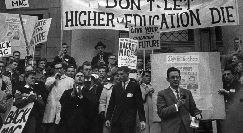 students rally in support of the 'back the mac' campaign to support higher education, 1963